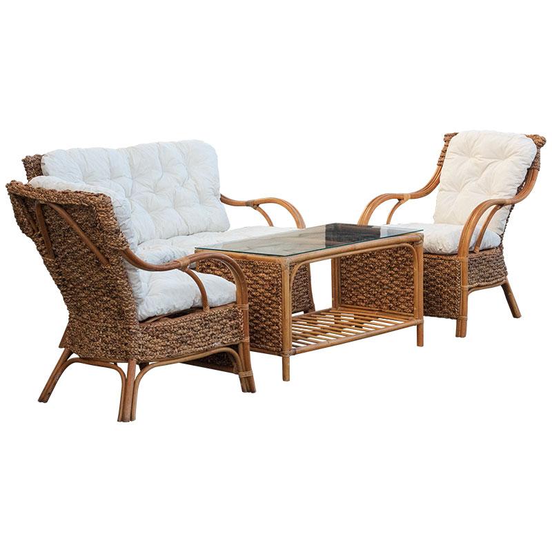 Градински комплект 4 части естествен ратан маса столове