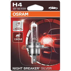Автомобилна крушка H4 Night Breaker Silver - 12V/55W, +100% повече светлина